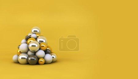 Photo pour Arbre de Noël formé par des boules empilées. Concept de Noël. 3d Rendu - image libre de droit