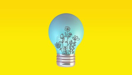 Photo for Blue lightbulb on pink background 3d rendering - Royalty Free Image
