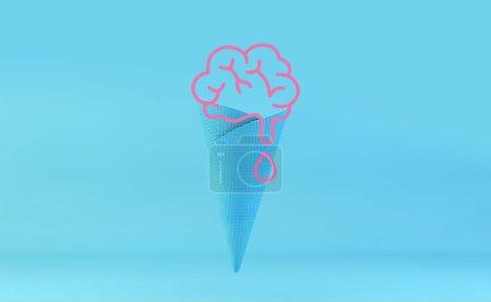 Photo pour Crème glacée cerveau gaufre bleue rendu 3d - image libre de droit