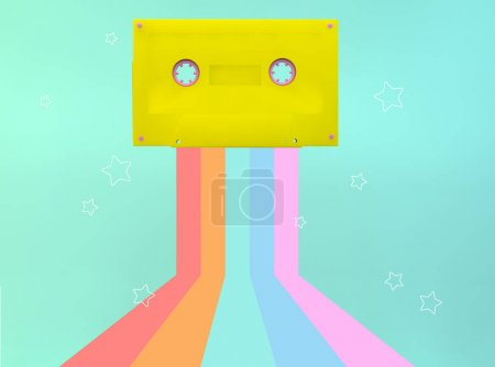 Photo for Yellow cassette 3d rendering with rainbow and stars illustration - Royalty Free Image