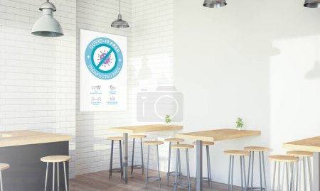 Photo for Modern design coffee shop poster covid free3d rendering, - Royalty Free Image