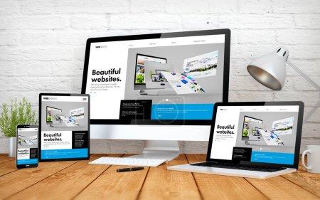 rendu 3d avec multidispositifs avec constructeur site de conception sensible