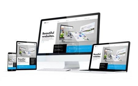 Photo pour Dispositifs de mobilité isolés avec un design moderne réactif à l'écran. Rendu 3d. - image libre de droit