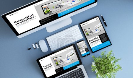 Photo for Blue devices top view creative website builder 3d rendering. - Royalty Free Image