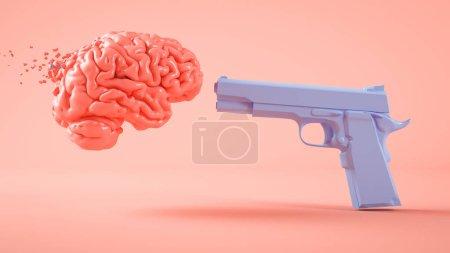 Photo pour Concept d'ignorance : Gun tirer sur un cerveau rendu 3d - image libre de droit
