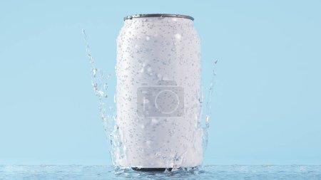Photo pour Soda peut rendre 3d maquette avec éclaboussure d'eau et de condensation - image libre de droit