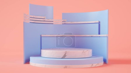 Photo for Product presentation on marble and blue 3d rendering - Royalty Free Image