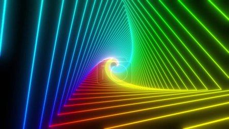 Photo pour Tunnel triangle arc-en-ciel. Animation 4K sans couture. Fond abstrait écran de mouvement avec boîte de boucle animée. Cadres fluo lumineux avec des couleurs vives sur un fond noir. rendu 3D - image libre de droit