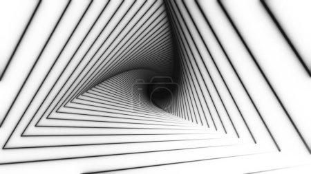 Photo pour Le tunnel triangulaire de Blac se déplace en spirale sur fond blanc. Animation pour vidéoclips, boîtes de nuit, écrans LED, projections, vidéo mapping, performances audiovisuelles. - image libre de droit