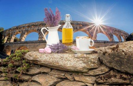 Photo pour Nature morte lavande contre le Pont du Gard aqueduc en Provence, France - image libre de droit
