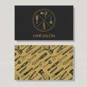 Business card for hair salon Logotype and background