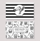 Visit cards with template design for hair salon