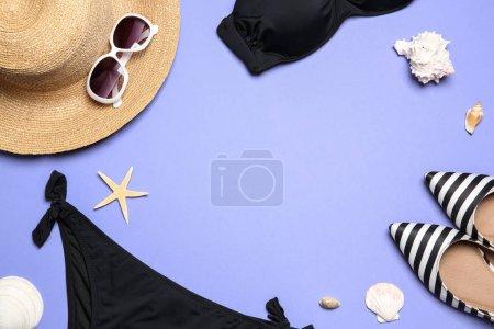 Flat lay composition with stylish bikini on color ...