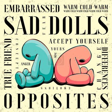 Illustration pour Illustration de poupées tristes assises dos à dos. Émotions, amitié, autisme, concept d'acceptation . - image libre de droit