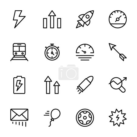 Photo for We are offering technological icons of power, speed, graph, sprint, line icons pack. Editable icons are amazing to use in graphic designing, project designing, and technology advancement etc. - Royalty Free Image