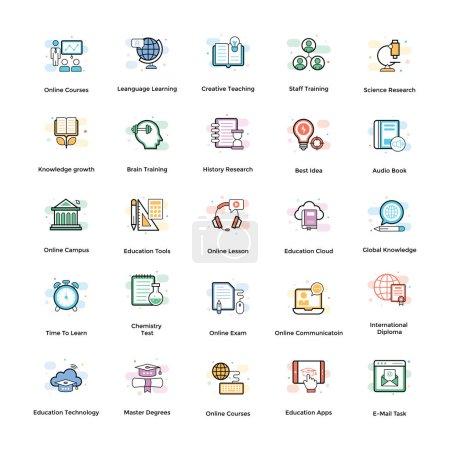 Illustration pour Nous offrons elearning icônes pack. Les éléments conçus de façon créative sont destinés à être utilisés à des fins éducatives. Saisir cet ensemble modifiable . - image libre de droit