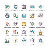 Fintech and blockchain icons in flat vectors designed in creative way for best utilization These icons can be edited in size and color too Hold it and use