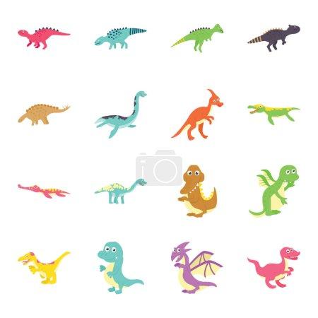 Illustration pour Voici tellement de variété de mignonnes icônes plates dinosaures pack. Tenez et utilisez ces animaux préhistoriques pour décorer la chambre des enfants, salle de classe, fête et bien plus encore. Les icônes de bande dessinée sont séduisantes et faciles à utiliser . - image libre de droit