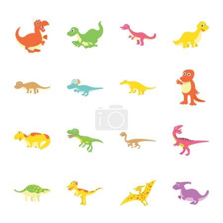 Illustration pour Voici tellement de variété de mignonnes icônes plates dinosaures ensemble. Tenez et utilisez ces animaux préhistoriques pour décorer la chambre des enfants, salle de classe, fête et bien plus encore. Les icônes de bande dessinée sont séduisantes et faciles à utiliser . - image libre de droit