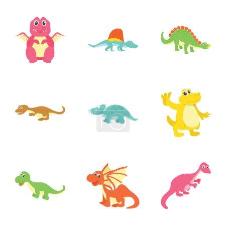 Illustration pour Voici tellement de variété de vecteurs plats mignons dinosaures pack. Tenez et utilisez ces animaux préhistoriques pour décorer la chambre des enfants, salle de classe, fête et bien plus encore. Les icônes de bande dessinée sont séduisantes et faciles à utiliser . - image libre de droit