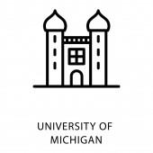 Line icon of university of michigan design vector