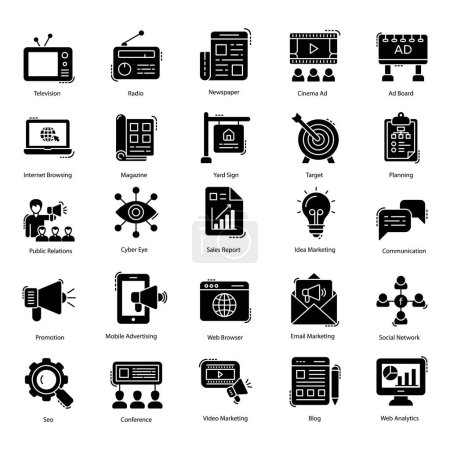 Photo pour Marketing icons pack is best and worthy for your social marketing and related projects. Icons are editable to be grabbed for associated fields. - image libre de droit