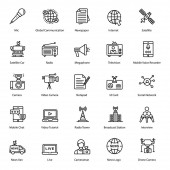 Here we come up with news line icons pack The range of this set consists of visuals like media press journalism Grab this excellent set and use in all relevant fields
