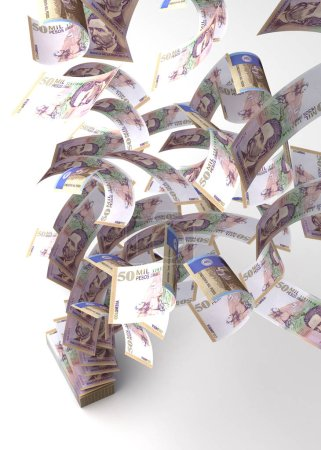 Photo pour Pesos Colombiens Volants (isolés avec un chemin de coupure ) - image libre de droit