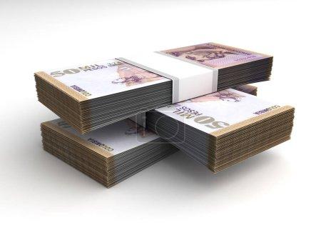 Photo pour Empilement de Pesos Colombiens sur fond blanc - image libre de droit