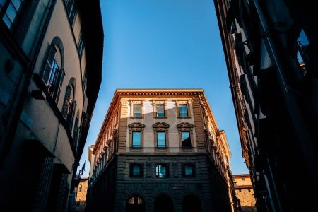 low angle view of beautiful historic buildings in florence, italy