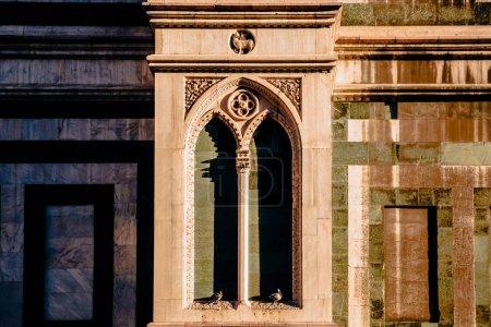 Photo pour Pigeons en arche de l'ancien bâtiment historique en florence, en italie - image libre de droit