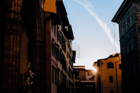 Photo for Statue of Ratto delle Sabine, Loggia de Lanzi, Piazza della Sig at evening, florence, italy - Royalty Free Image