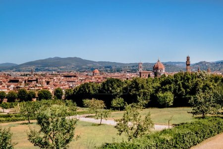 green trees, bushes and beautiful ancient buildings in florence, italy