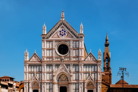 Photo for Beautiful architecture of famous basilica of santa croce in florence, italy - Royalty Free Image