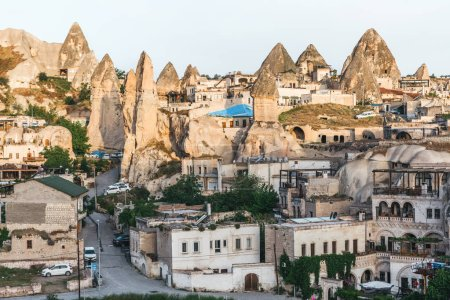 Photo for CAPPADOCIA, TURKEY - 09 MAY, 2018: Beautiful old buildings and majestic rock formations in cappadocia, turkey - Royalty Free Image