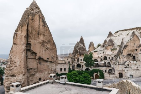 beautiful buildings and scenic rock formations in cappadocia, turkey