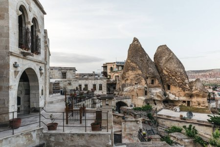 Photo for Beautiful architecture and scenic view of caves in rocks, cappadocia, turkey - Royalty Free Image
