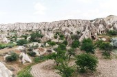 beautiful view of famous rock formations and caves in cappadocia, turkey