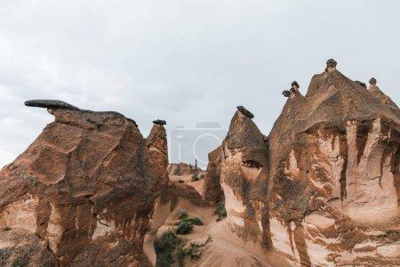 beautiful eroded rock formations in famous cappadocia, turkey