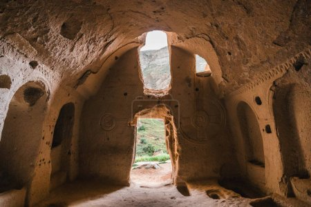 scenic view inside the cave in famous cappadocia, turkey