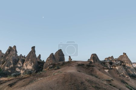 beautiful landscape with bizarre rock formations at evening, rock formations, turkey