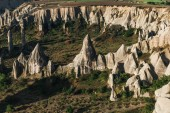 aerial view of scenic rock formations and majestic landscape in cappadocia, turkey