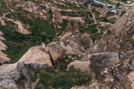 aerial view of majestic landscape with bizarre rock formations in famous cappadocia, turkey