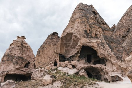 majestic caves in limestone at famous cappadocia, turkey