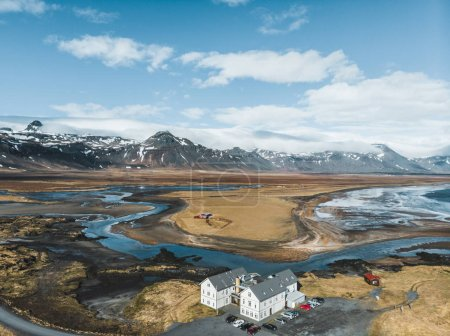Photo for Aerial view of houses and cars on beautiful coast, snaefellsnes, iceland - Royalty Free Image
