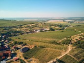 Aerial view of countryside with green fields and buildings, Czech Republic