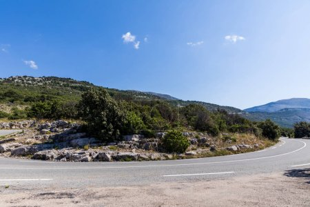 empty winding road in scenic mountains, provence, france