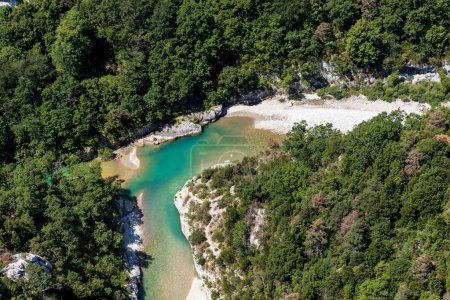 Photo for Aerial view of beautiful turquoise verdon river in provence, france - Royalty Free Image