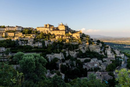 Photo for Aerial view of old french town with beautiful traditional architecture, provence, france - Royalty Free Image