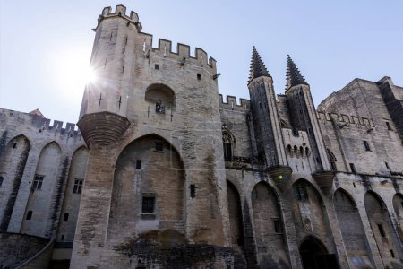 Photo for Low angle view of beautiful famous Palais des Papes (Papal palace) in Avignon, France - Royalty Free Image